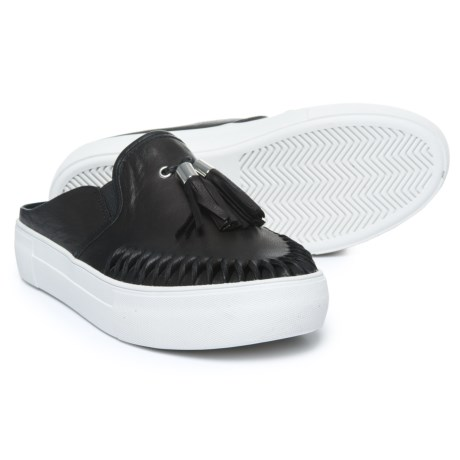 J Slides Andie Sneakers - Leather, Slip-Ons (For Women) in Black Leather