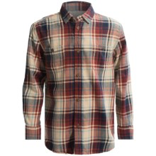 J.A.C.H.S. Classic Plaid Twill Shirt - Cotton, Long Sleeve (For Little and Big Boys) in Tan - Closeouts