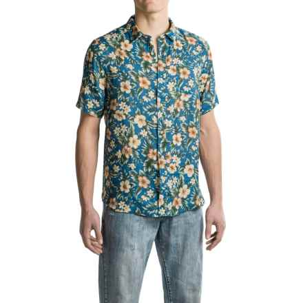J.A.C.H.S. Floral-Print Linen Shirt - Short Sleeve (For Men) in Navy - Closeouts
