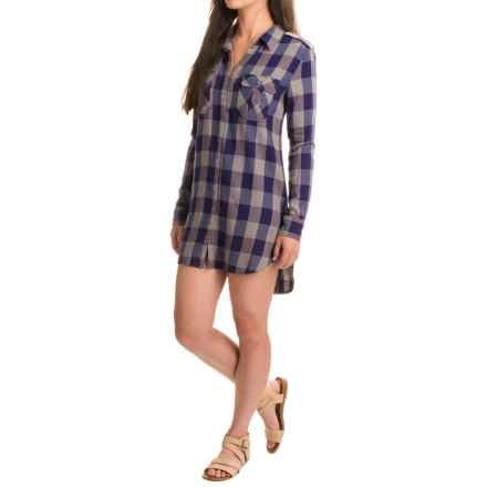 JACHS Girlfriend NY Christa Cotton Shirt Dress - Long Sleeve (For Women) in Grey - Closeouts