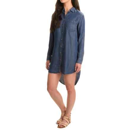 JACHS Girlfriend NY Christa TENCEL® Shirt Dress - Long Sleeve (For Women) in Navy - Closeouts
