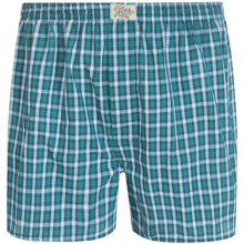 J.A.C.H.S. New York Woven Boxers (For Men) in Navy/Green Mini Check - Closeouts