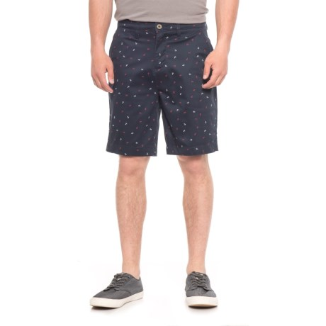 JACHS NY Bleeker Stretch Chino Shorts (For Men) in Navy/Anchors