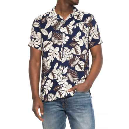 JACHS NY Camp Shirt - Short Sleeve (For Men) in Navy/Palms - Closeouts