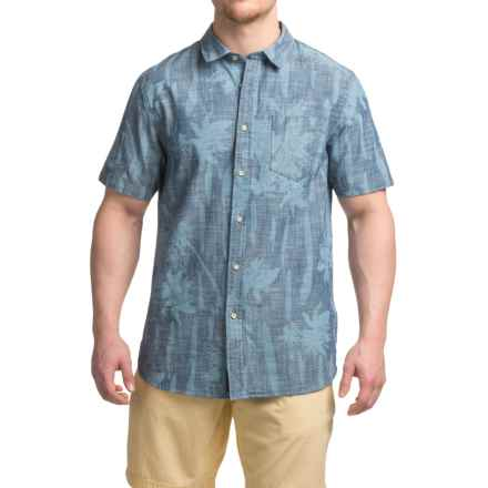 JACHS NY Chambray Floral Shirt - Short Sleeve (For Men) in Blue - Closeouts
