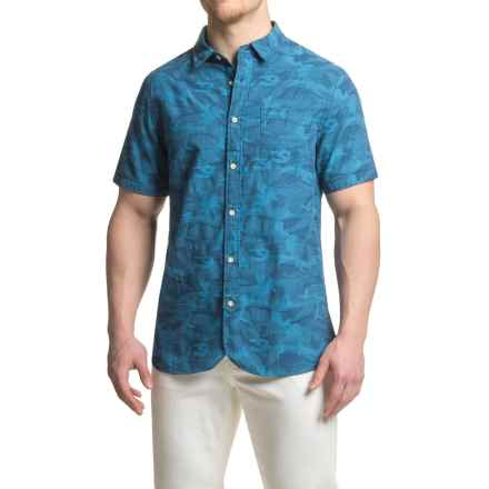JACHS NY Cotton Jacquard Shirt - Short Sleeve (For Men) in Indigo - Closeouts