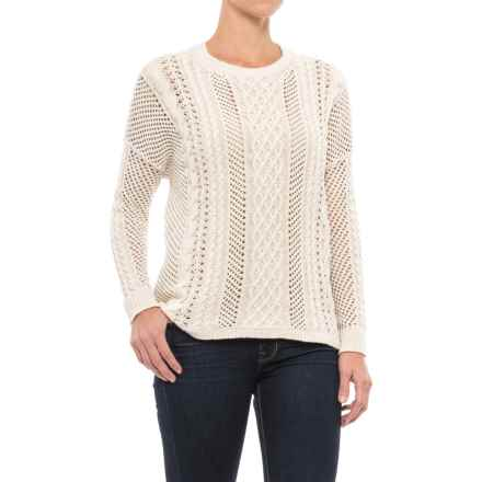 JACHS NY Crocheted Oversized Sweater - Semi Sheer (For Women) in White - Closeouts