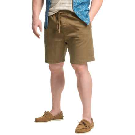 JACHS NY Elastic Waist Stretch Twill Shorts (For Men) in Olive - Closeouts