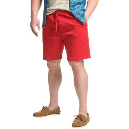JACHS NY Elastic Waist Stretch Twill Shorts (For Men) in Red - Closeouts