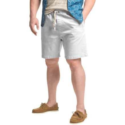 JACHS NY Elastic Waist Stretch Twill Shorts (For Men) in White - Closeouts