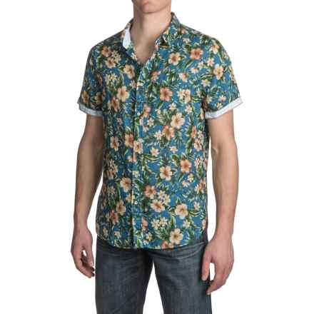 JACHS NY Floral Printed Shirt - Short Sleeve (For Men) in Navy - Closeouts