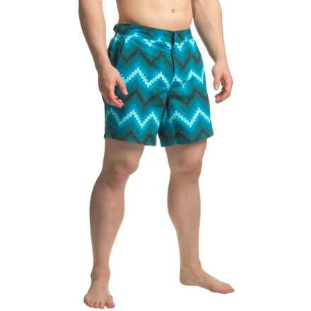 JACHS NY Geometric Chevron Hampton Swim Shorts (For Men) in Blue - Closeouts
