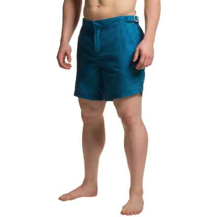 JACHS NY Geometric Striped Hampton Swim Shorts (For Men) in Blue - Closeouts