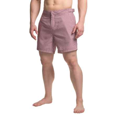 JACHS NY Geometric Striped Hampton Swim Shorts (For Men) in Red - Closeouts