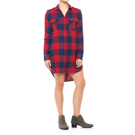JACHS NY Girlfriend Alexis Military Pocket Shirt Dress - Long Sleeve (For Women) in Red