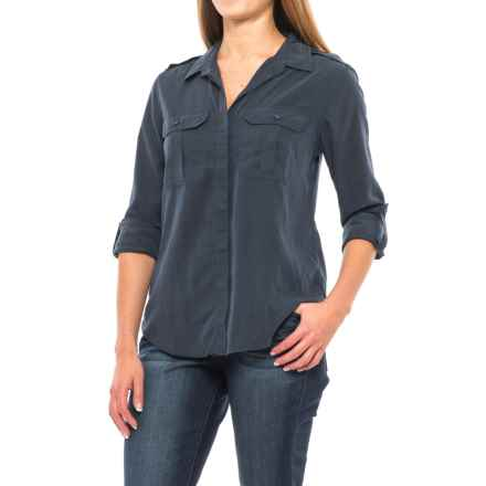 JACHS NY Girlfriend Pauline Military Pocket Shirt - Modal Blend, Long Sleeve (For Women) in Navy - Closeouts