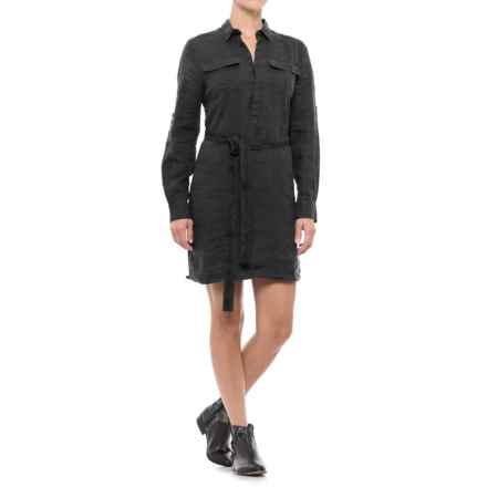 JACHS NY Girlfriend Shirtdress - Linen, Long Sleeve (For Women) in Black - Closeouts
