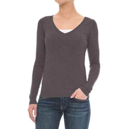 JACHS NY Girlfriend Soft V-Neck Sweater (For Women) in Grey - Closeouts