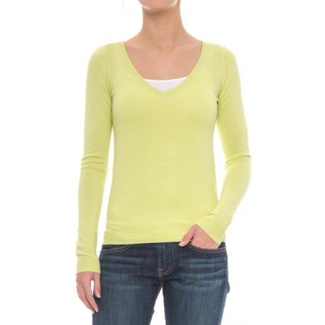 JACHS NY Girlfriend Soft V-Neck Sweater (For Women)