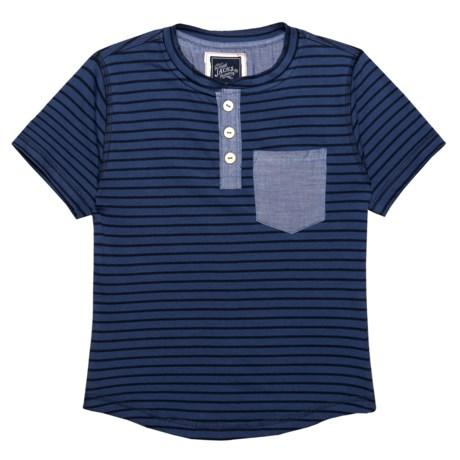 JACHS NY Henley Shirt - Short Sleeve (For Little Boys) in Dark Blue/Navy