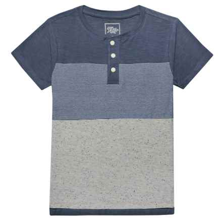 JACHS NY Henley T-Shirt - Short Sleeve (For Little Boys) in Light Grey/Blue Grey - Closeouts
