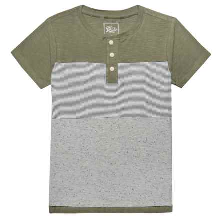 JACHS NY Henley T-Shirt - Short Sleeve (For Little Boys) in Light Grey/Light Sage - Closeouts
