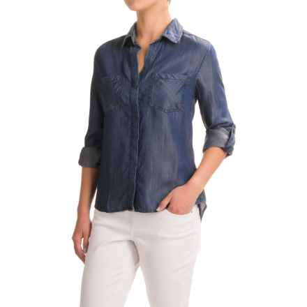 JACHS NY Jenny Fishtail Shirt - TENCEL® Chambray, Long Sleeve (For Women) in Navy - Closeouts