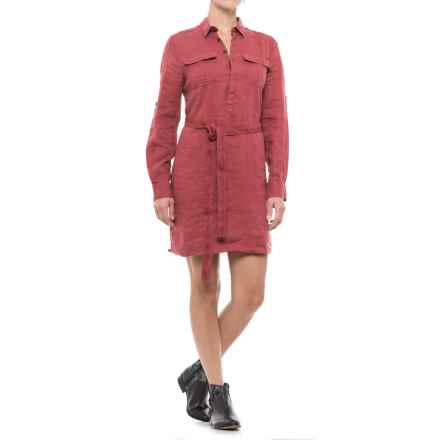 JACHS NY Linen Shirtdress - Long Sleeve (For Women) in Sun Dried Tomato - Closeouts