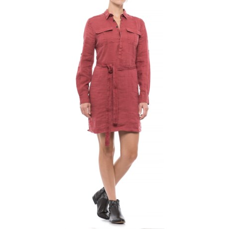 JACHS NY Linen Shirtdress - Long Sleeve (For Women) in Sun Dried Tomato