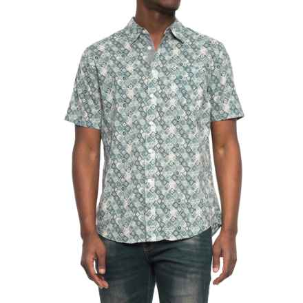 JACHS NY Poplin Printed Shirt - Short Sleeve (For Men) in Blue/Diamond - Closeouts