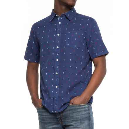 JACHS NY Poplin Printed Shirt - Short Sleeve (For Men) in Navy/Anchors - Closeouts