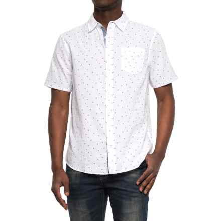 JACHS NY Poplin Printed Shirt - Short Sleeve (For Men) in White/Trianlge - Closeouts