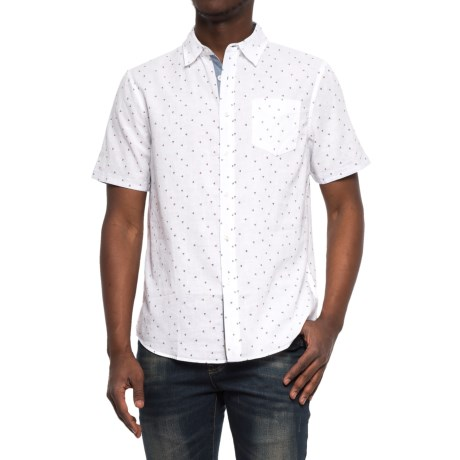 JACHS NY Poplin Printed Shirt - Short Sleeve (For Men) in White/Trianlge