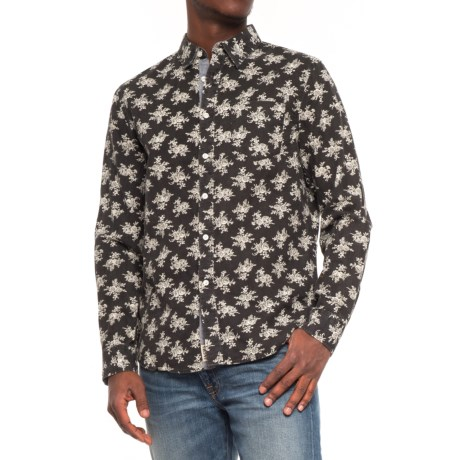 JACHS NY Printed Poplin Shirt - Long Sleeve (For Men) in Black/Floral