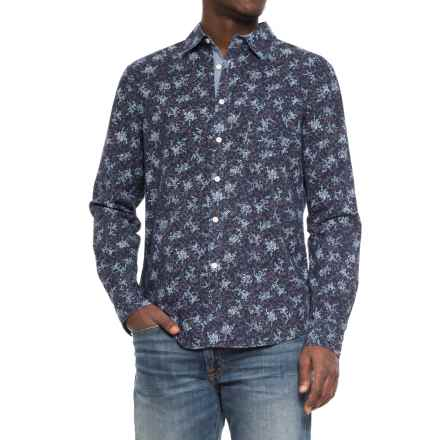 JACHS NY Printed Poplin Shirt - Long Sleeve (For Men) in Navy/Floral - Overstock