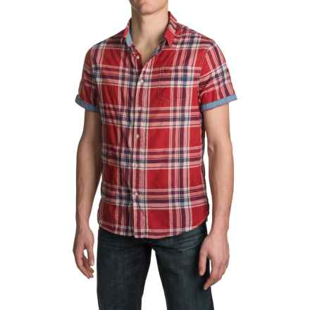 JACHS NY Single-Pocket Plaid Shirt - Spread Collar, Short Sleeve (For Men) in Red - Closeouts