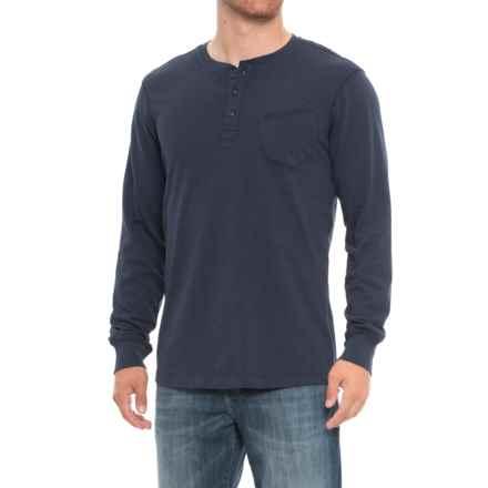 JACHS NY Slub Jersey Henley Shirt - Long Sleeve (For Men) in Indigo - Closeouts