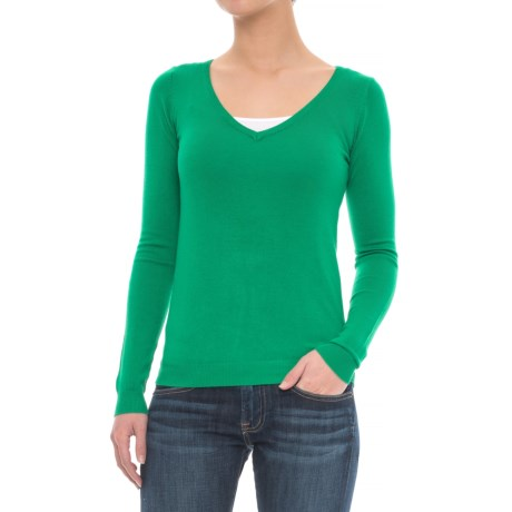 JACHS NY Soft V-Neck Sweater (For Women) in Green