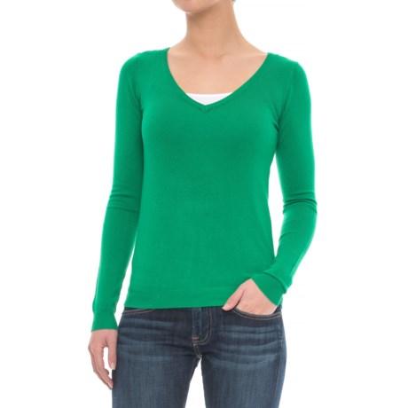 JACHS NY Soft V-Neck Sweater (For Women)