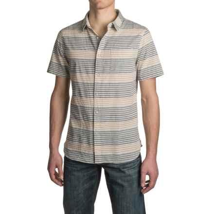 JACHS NY Spread Collar Shirt - Cotton, Short Sleeve (For Men) in Indigo - Closeouts