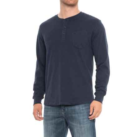 JACHS NY Sueded Jersey Henley Shirt - Long Sleeve (For Men) in Indigo - Closeouts