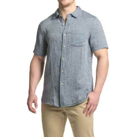 JACHS NY Textured Woven Shirt - Cotton-Linen, Short Sleeve (For Men) in Charcoal - Closeouts