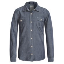 J.A.C.H.S. Plaid Flannel Shirt - Long Sleeve (For Big Girls) in Grey - Closeouts
