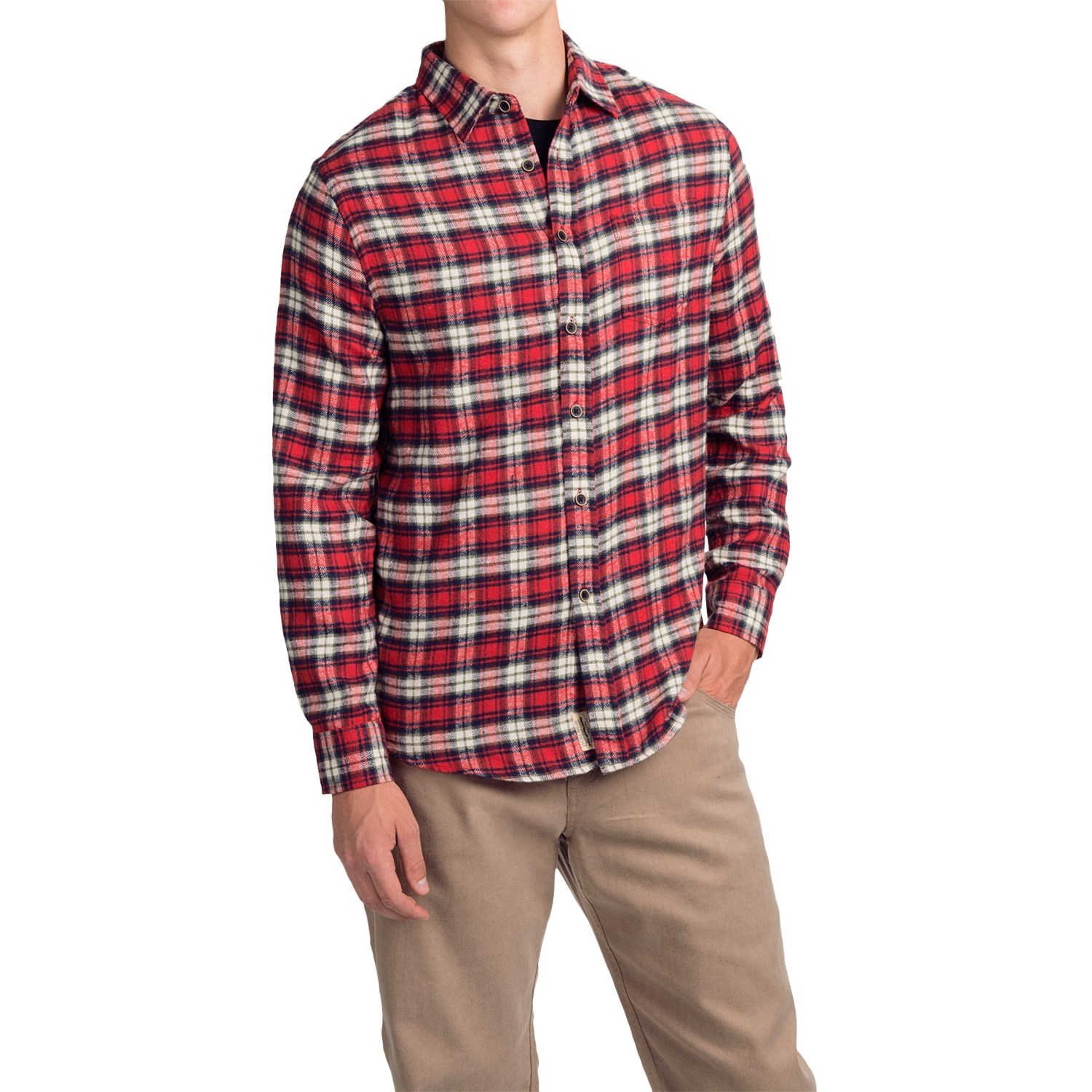 Jachs Mens Long Sleeve Button Front Flannel Shirt Red/Navy ...