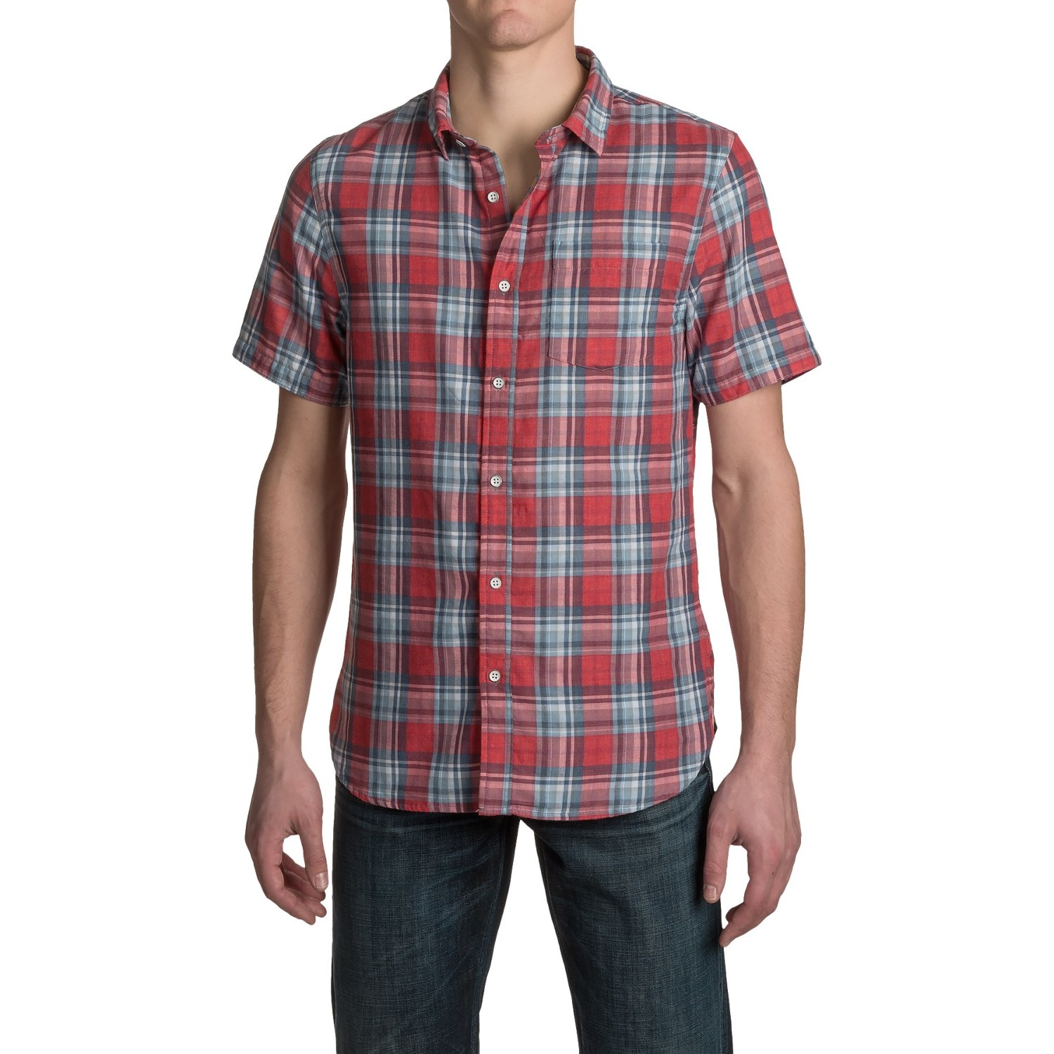 J a c h s single pocket double faced plaid shirt for men for Mens double pocket short sleeve shirts