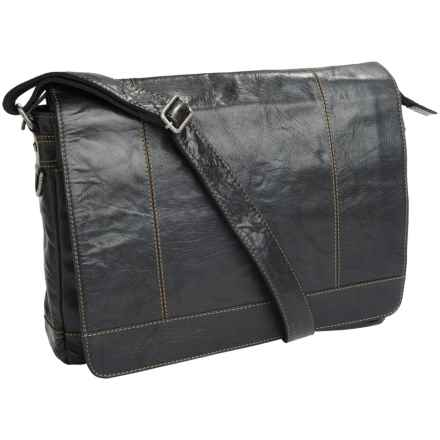 Jack Georges Voyager Messenger Bag - Buffalo Leather in Black - Overstock