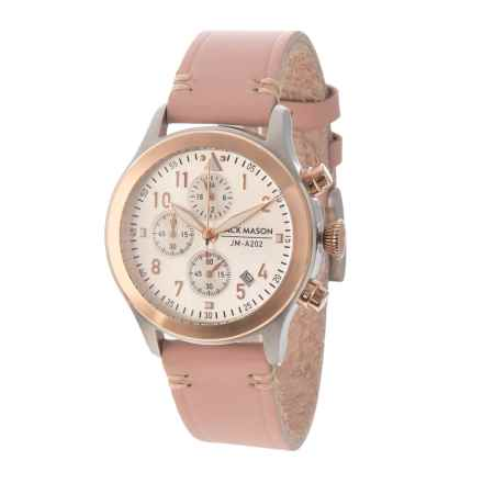 Jack Mason Aviator Chronograph Watch with Leather Band - 36mm in White/Blush - Closeouts