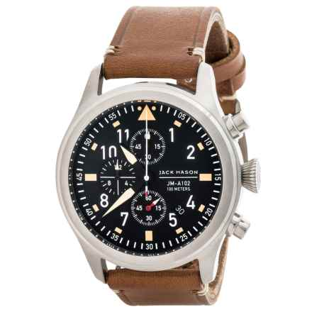 Jack Mason Aviator Chronograph Watch with Leather Band - 42mm in Black/Saddle - Closeouts