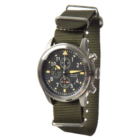 Jack Mason Aviator Chronograph Watch with Nylon Band - 42mm in Black/Olive