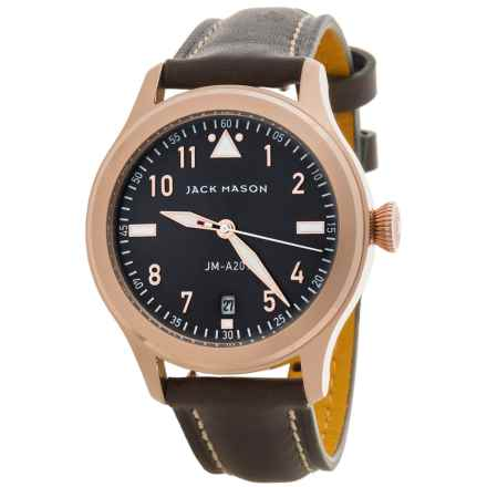 Jack Mason Aviator Watch with Leather Band - 36mm in Grey/Grey - Closeouts